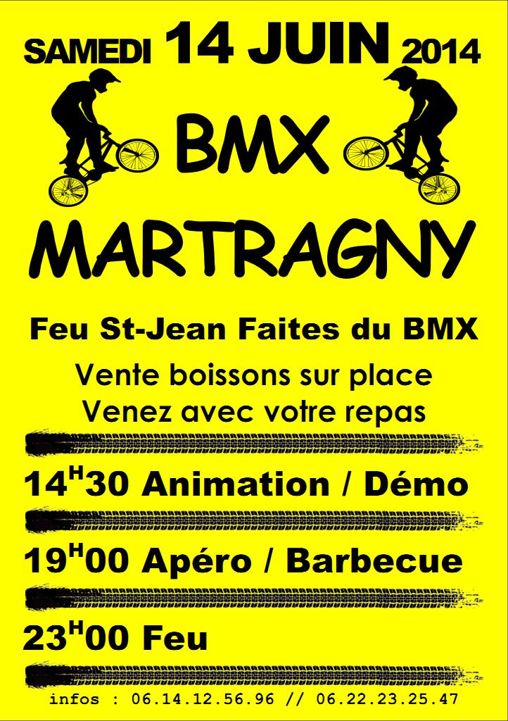 Le samedi 14 juin 2014, le club BMX de Martragny organise la soirée de clôture annuelle du club. Vente boissons sur place. Venez avec votre repas. 14H30 : Animation / Démo. 19H00  : Apéro / Barbecue. 23H00 : Feu. Infos: 06.14.12.56.96 // 06.22.23.25.47