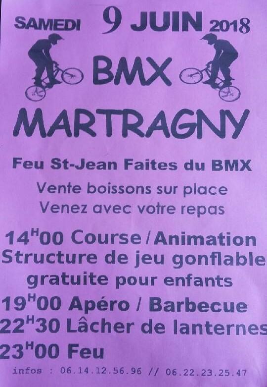 Le samedi 9 juin 2018, le club BMX de Martragny organise la soirée de clôture annuelle du club. Vente boissons sur place. Venez avec votre repas. 14H00 : Course / Animation / Structure de jeu gonflable gratuite pour enfants. 19H00 : Apéro / Barbecue. 22H30 Lâcher de lanternes. 23H00 : Feu. Infos: 06.14.12.56.96 // 06.22.23.25.47